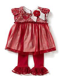 Bonnie Jean Bonnie Baby Baby Girls Newborn 24 Months Foiled Knit Lacemesh Overlay Dress And Ruffle Hem Leggings Set