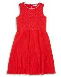 Design History Girls Lace Bodice Pleated Dress