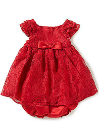 Laura Ashley London Baby Girls Newborn 24 Months Bow Accented Lace Dress