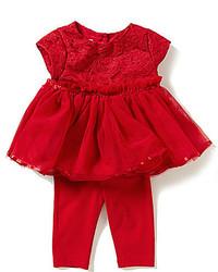 Pippa Julie Baby Girls Newborn 9 Months Lace Bodice Dress And Leggings Set