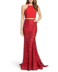 Jersey lace two piece gown medium 5387973