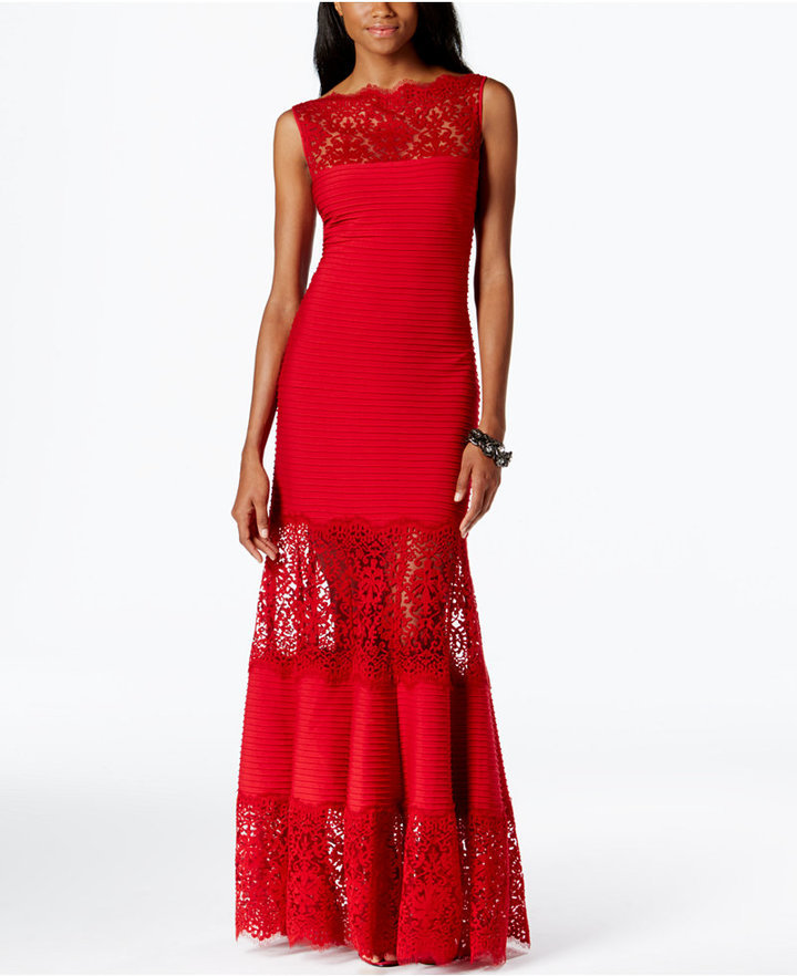 Tadashi Shoji Lace Inset Evening Gown | Where to buy & how to wear