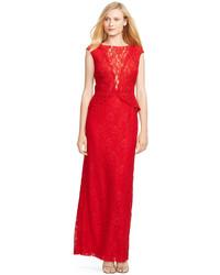6b65a11c8e4c Lauren Ralph Lauren Lace Popover Gown, $240 | Macy's | Lookastic.com