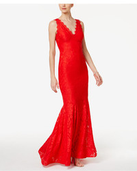 Betsy & Adam Lace V Neck Mermaid Gown