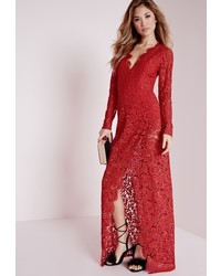 Missguided Plunge Lace Maxi Dress Red