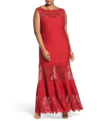 Plus size illusion lace pintuck jersey gown medium 1249713