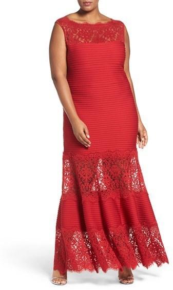 Tadashi Shoji Plus Size Illusion Lace Pintuck Jersey Gown, $468 ...
