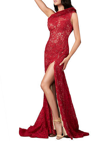07e26e17ec74 Sequin Lace Side Slit Mermaid Gown. Red Lace Evening Dress by Mac Duggal