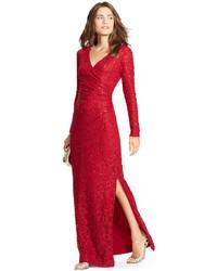 de1cbe4442b9 Lauren Ralph Lauren Sequined Lace Surplice Dress, $220 | Macy's ...