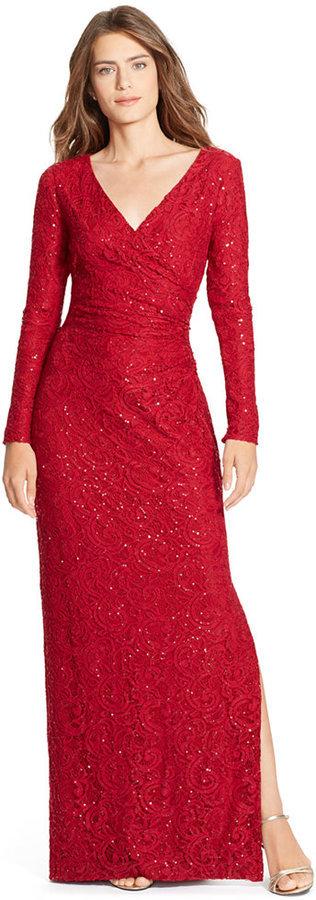 ba6f85301 ... Lauren Ralph Lauren Sequined Lace Surplice Dress ...