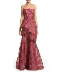 Tiered strapless lace gown medium 3685098