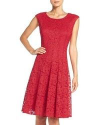 Red Lace Fit and Flare Dress