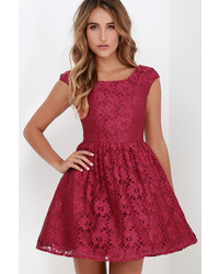 Minuet Award Of Excellence Wine Red Lace Skater Dress