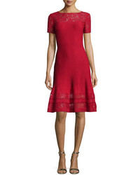 St. John Collection Rubin Lace Trim Fit  Flare Dress Ruby