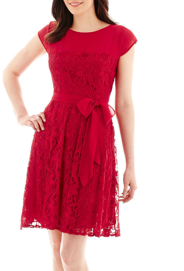 e919d1ad0 jcpenney Danny Nicole Short Sleeve Sash Tie Lace Fit And Flare Dress ...
