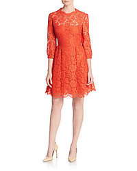 Valentino Lace Fit And Flare Dress