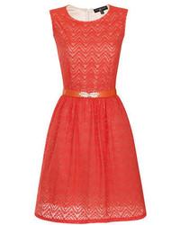 Little Mistress Petite Red Lace Flare Dress