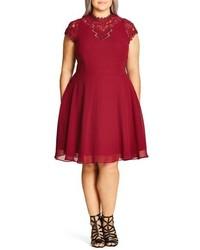 Plus size poser lace detail chiffon overlay fit flare dress medium 827929