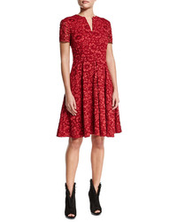 Burberry Short Sleeve Floral Lace Dress Parade Red