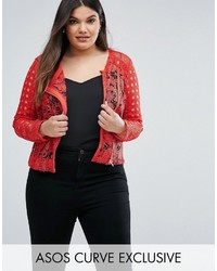Asos Curve Curve Premium Mixed Lace Panel Jacket In Red