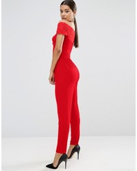fc9d2c1a50 ... Asos Jersey Jumpsuit With Lace Wrap Bardot ...