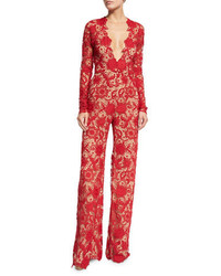 Naeem Khan Nem Khan Long Sleeve Plunging Lace Jumpsuit Red