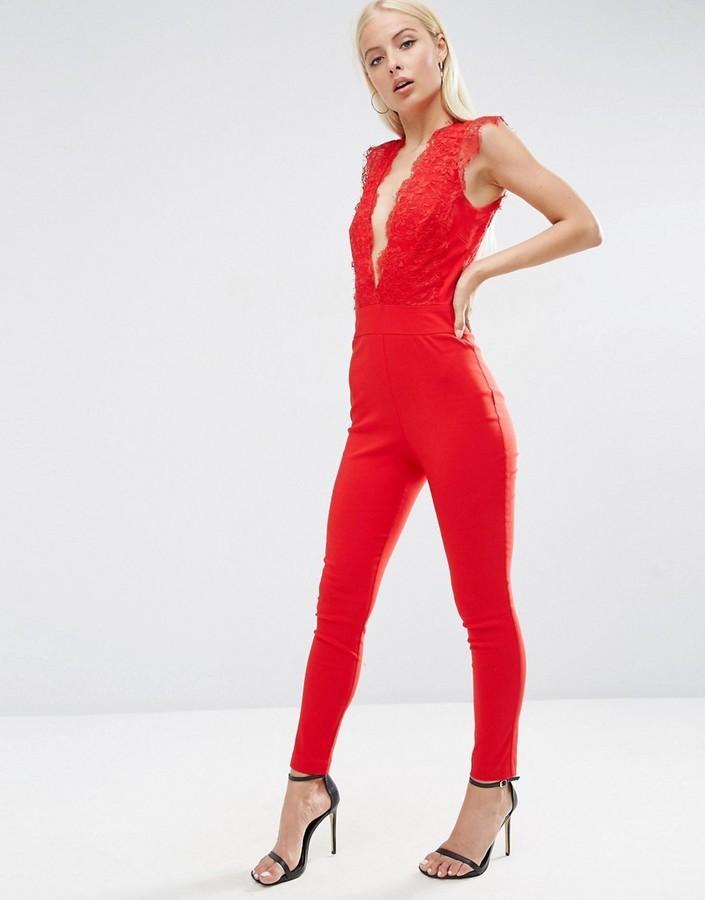 929d82679f70 ... Red Lace Jumpsuits Asos Sexy Lace Plunge Jumpsuit ...