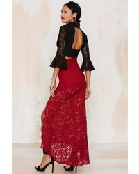Factory Cut To The Lace Maxi Skirt Burgundy | Where to buy & how ...