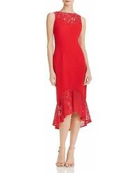 Aidan Mattox Aidan By Lace Inset Crepe Dress