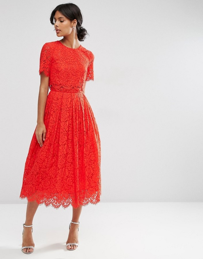 Asos Asos Lace Crop Top Midi Prom Dress Where To Buy How To Wear