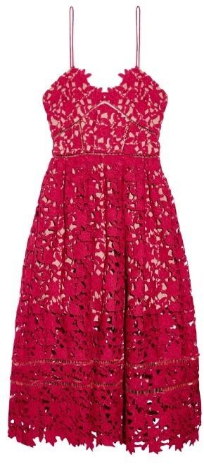 54cf65d243c ... Red Lace Midi Dresses Self-Portrait Azlea Floral Lace Midi Dress ...