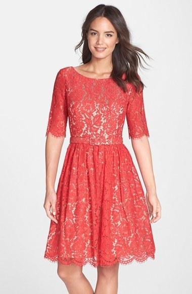 9167e685e0ea ... Eliza J Belted Lace Fit Flare Dress ...