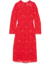 Valentino Blossom Macram Lace Midi Dress Red