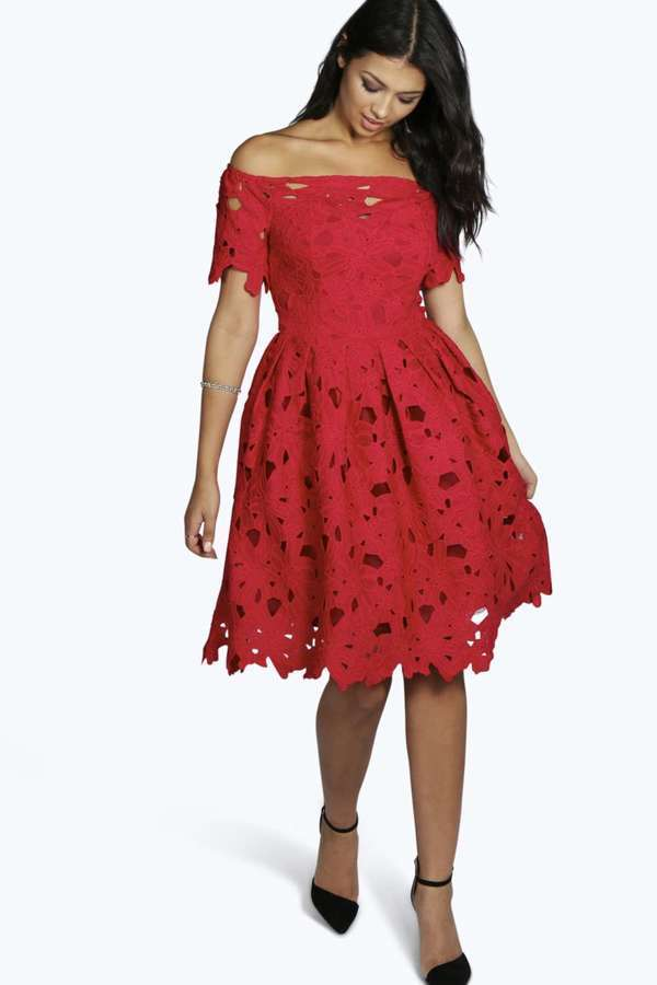 Boohoo Boutique Lisa Off Shoulder Lace Skater Dress | Where to buy ...