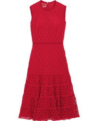 Cotton blend guipure lace dress red medium 1152532