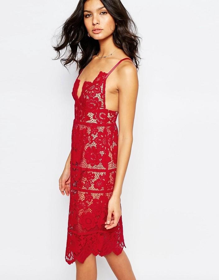 7b4c481e65 For Love   Lemons For Love And Lemons Gianna Midi Dress In Red Lace ...