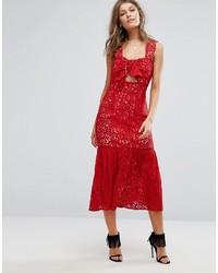 Foxiedox Bow Front Midi Lace Dress