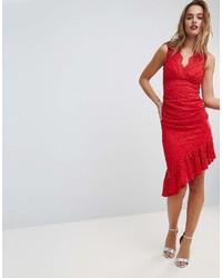 Asos Lace Ruched Asymmetric Hem Midi Dress
