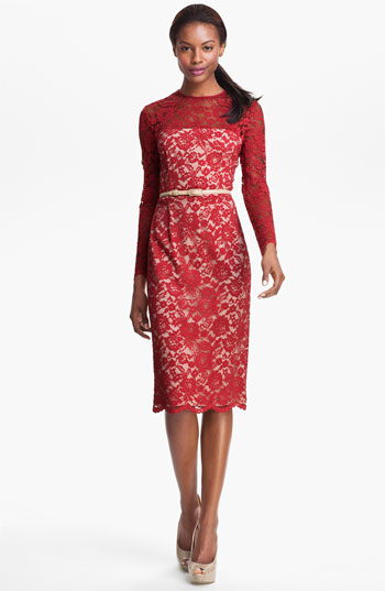 Maggy London Embroidered Lace Overlay Midi Dress Red 8 Where To