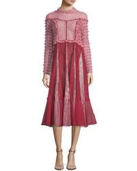 Valentino Mock Neck Ruffled Lace Midi Dress
