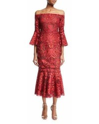 Marchesa Notte Off Shoulder Lace Bell Sleeve Midi Cocktail Dress