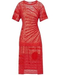 Stella McCartney Picot Trimmed Embroidered Cotton Blend Lace Midi Dress