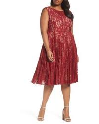 Gabby Skye Plus Size Illusion Lace Pleat Midi Dress