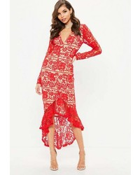Missguided Red Lace Plunge Fishtail Hem Midi Dress