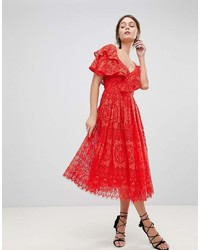 Asos Ruffle One Shoulder Lace Prom Dress