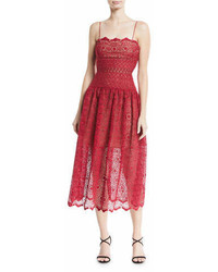 Self-Portrait Sleeveless Floral Lace Midi Cocktail Dress