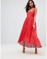 Asos Square Neck Pephem Midi Dress