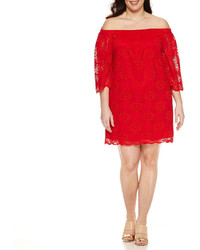 Tiana B 34 Sleeve Off The Shoulder Lace Sheath Dress Plus