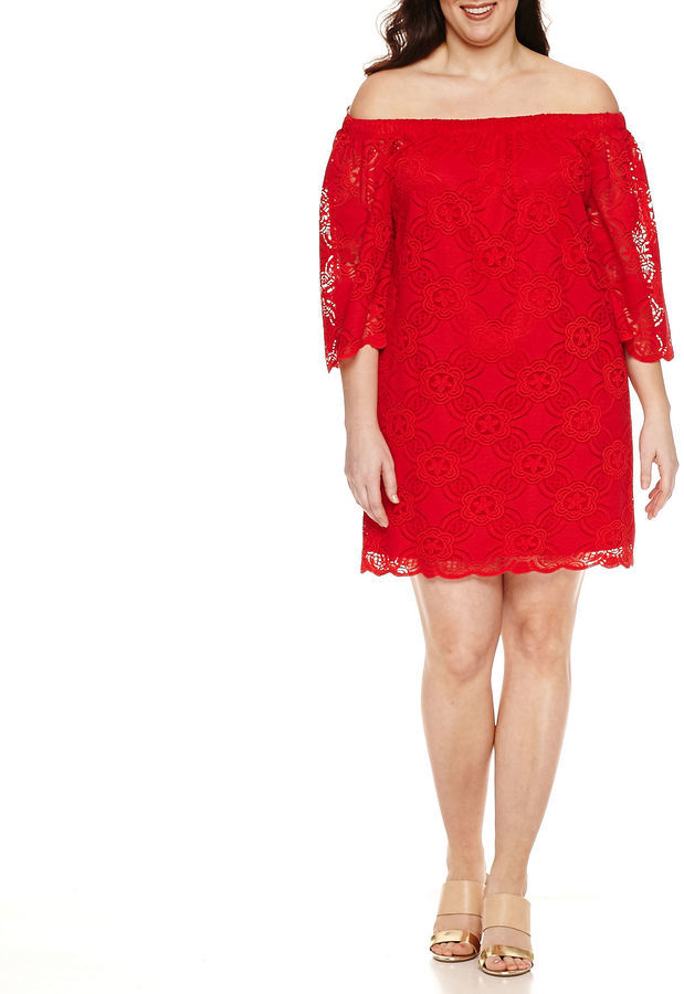 34 Sleeve Off The Shoulder Lace Sheath Dress Plus