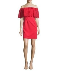 Aidan Aidan Mattox Lace Popover Off The Shoulder Dress